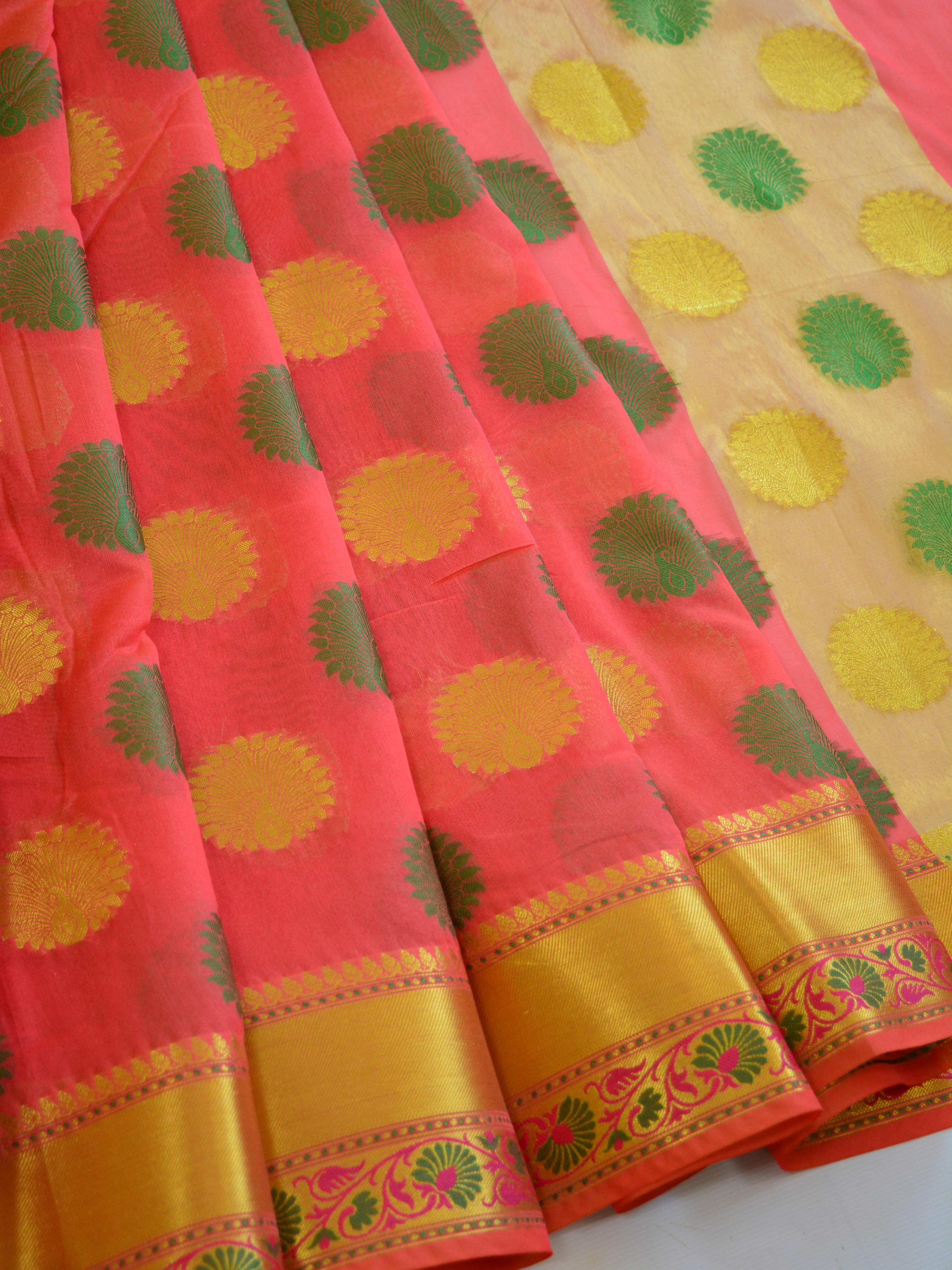 Banarasee Cotton Silk Saree With Peacock Motif & Floral Border-Peach