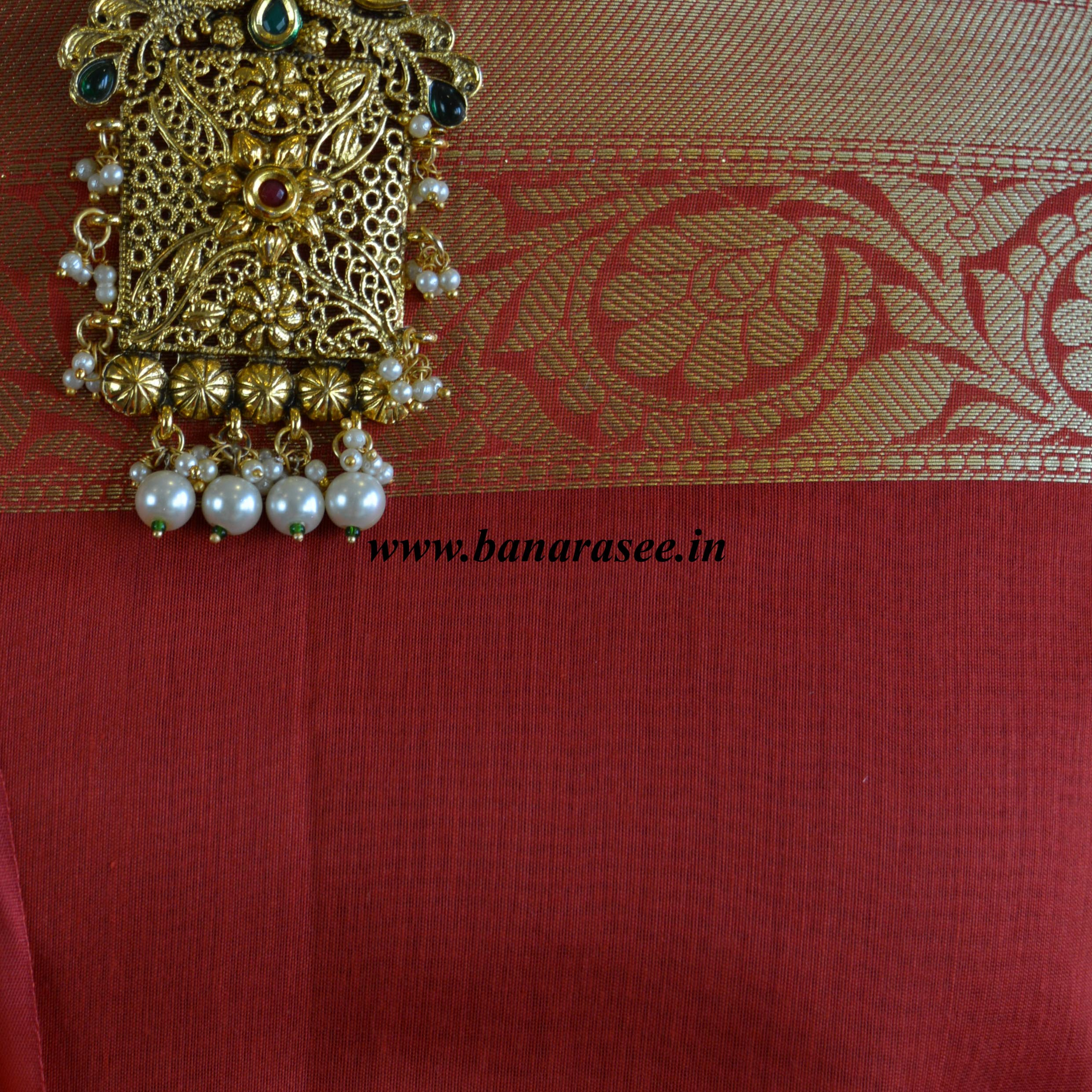 Banarasee Chanderi Cotton Salwar Kameez Fabric With Zari Dupatta-Red