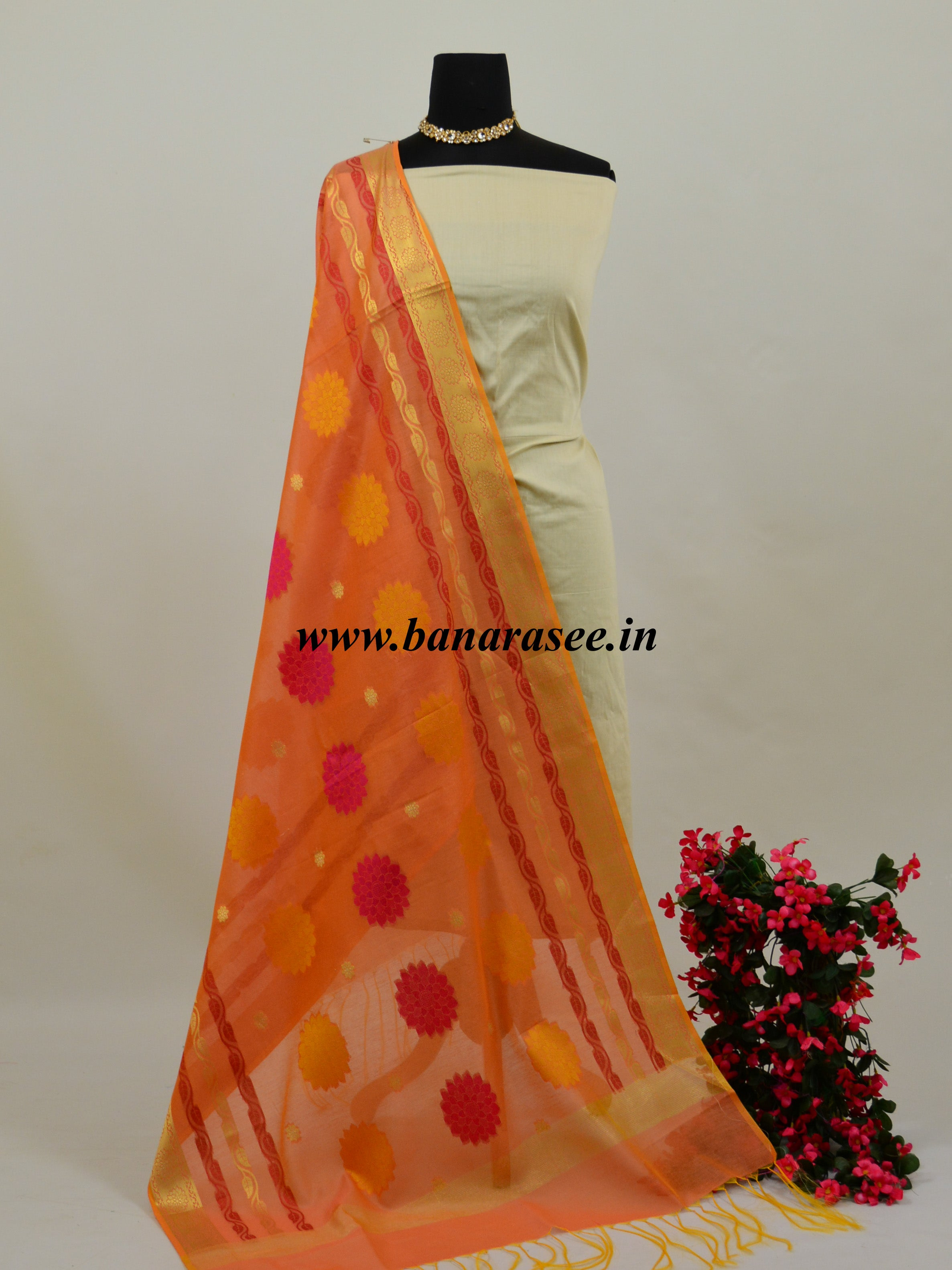 Banarasee Chanderi Cotton Resham Woven Dupatta-Peach
