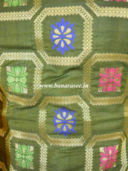 Banarasee Art Silk Salwar Kameez Fabric With Contrast Dupatta-Green & Yellow