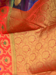 Banarasee Organza Mix Saree With Zari Buta & Red Satin Border-Deep Blue