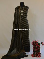 Banarasee Salwar Kameez Soft Handloom Cotton With Resham Buti Fabric-Black
