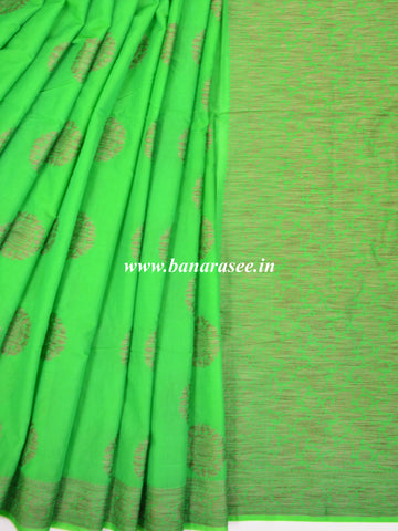 Banarasee Pure Handloom Soft Cotton Saree With Jute Work-Bright Green