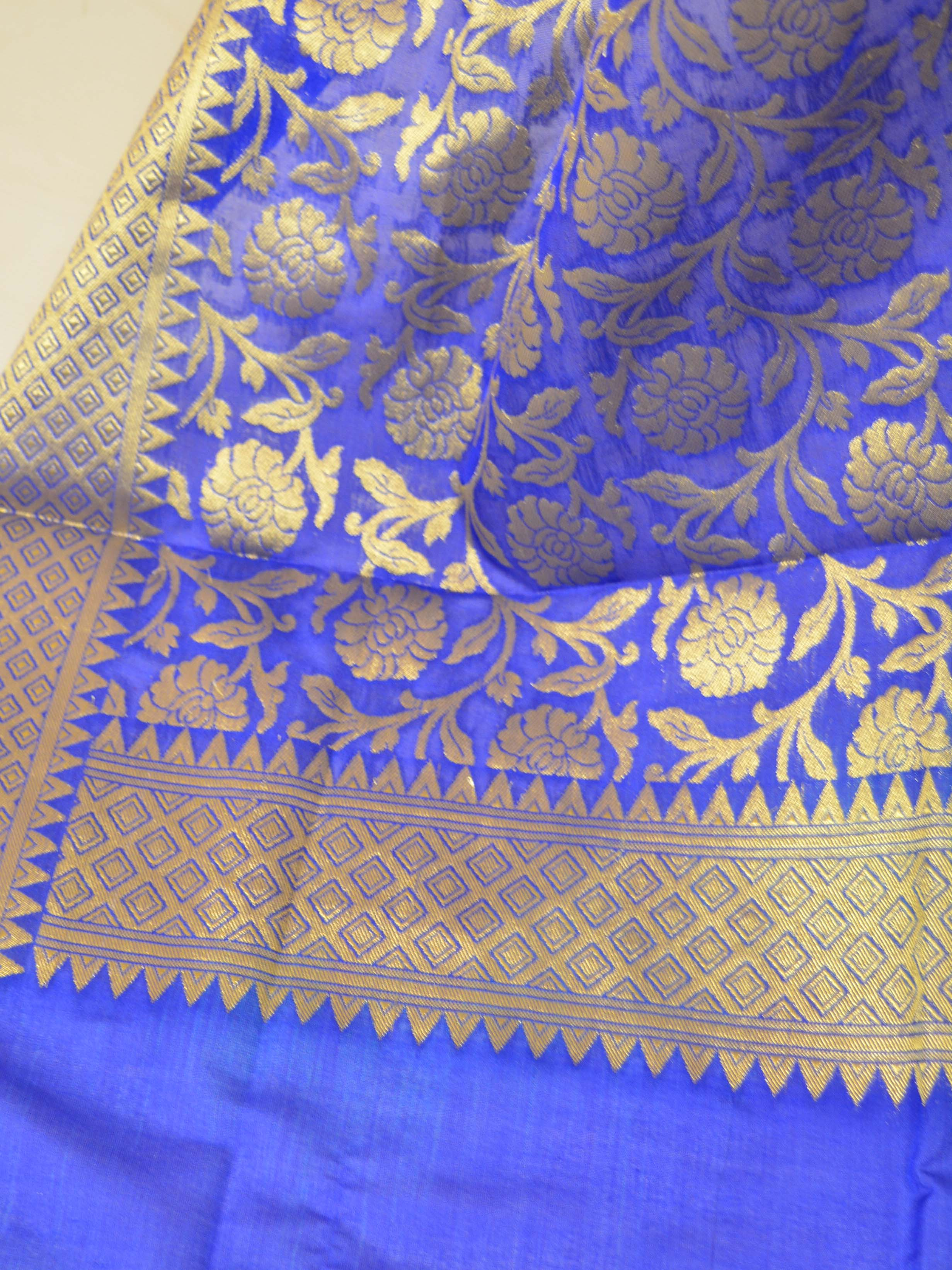 Banarasee Art Silk Dupatta Jaal Design-Royal Blue