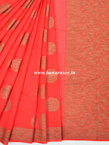 Banarasee Pure Handloom Soft Cotton Saree With Jute Work-Red