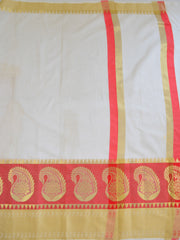 Banarasee Cotton Silk Saree With Plain Body & Paisley Design Border-White
