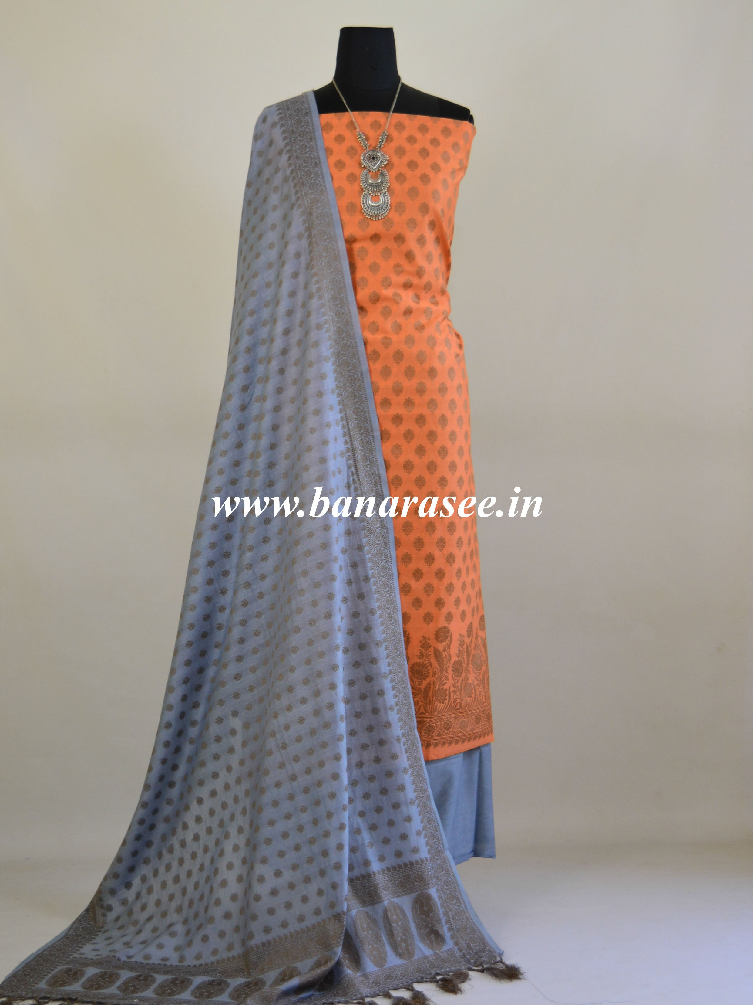 Banarasee Cotton Mix Ghichha Work Salwar Kameez With Grey Dupatta-Peach