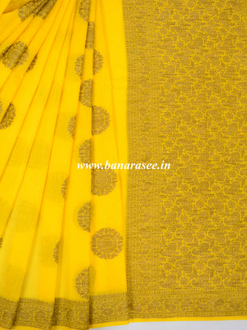 Banarasee Pure Handloom Soft Cotton Saree With Jute Work-Yellow
