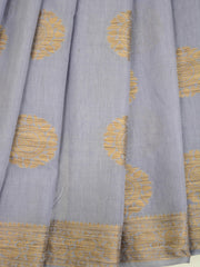 Banarasee Pure Handloom Soft Cotton Saree With Jute Work-Grey