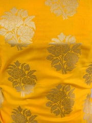 Banarasee Salwar Kameez Semi Katan Silk Zari Work Fabric-Yellow