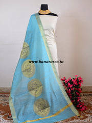 Banarasee Soft Cotton Chakra Design Dupatta-Sky Blue