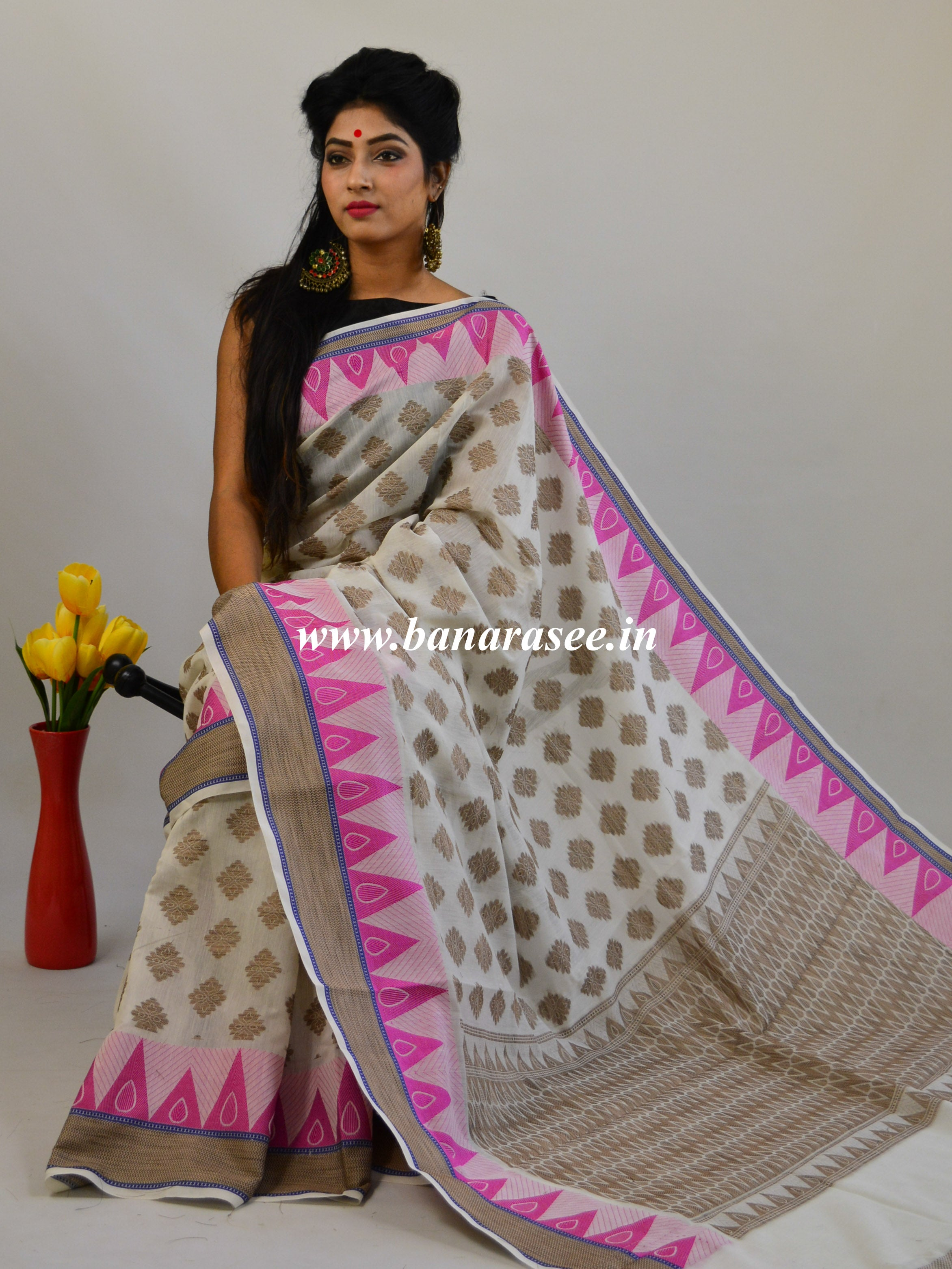 Banarasee Handloom Cotton Saree with Resham Work-White