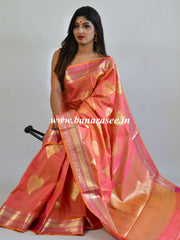 Banarasee Handwoven Semi Silk Saree With Zari Border & Buta-Peach