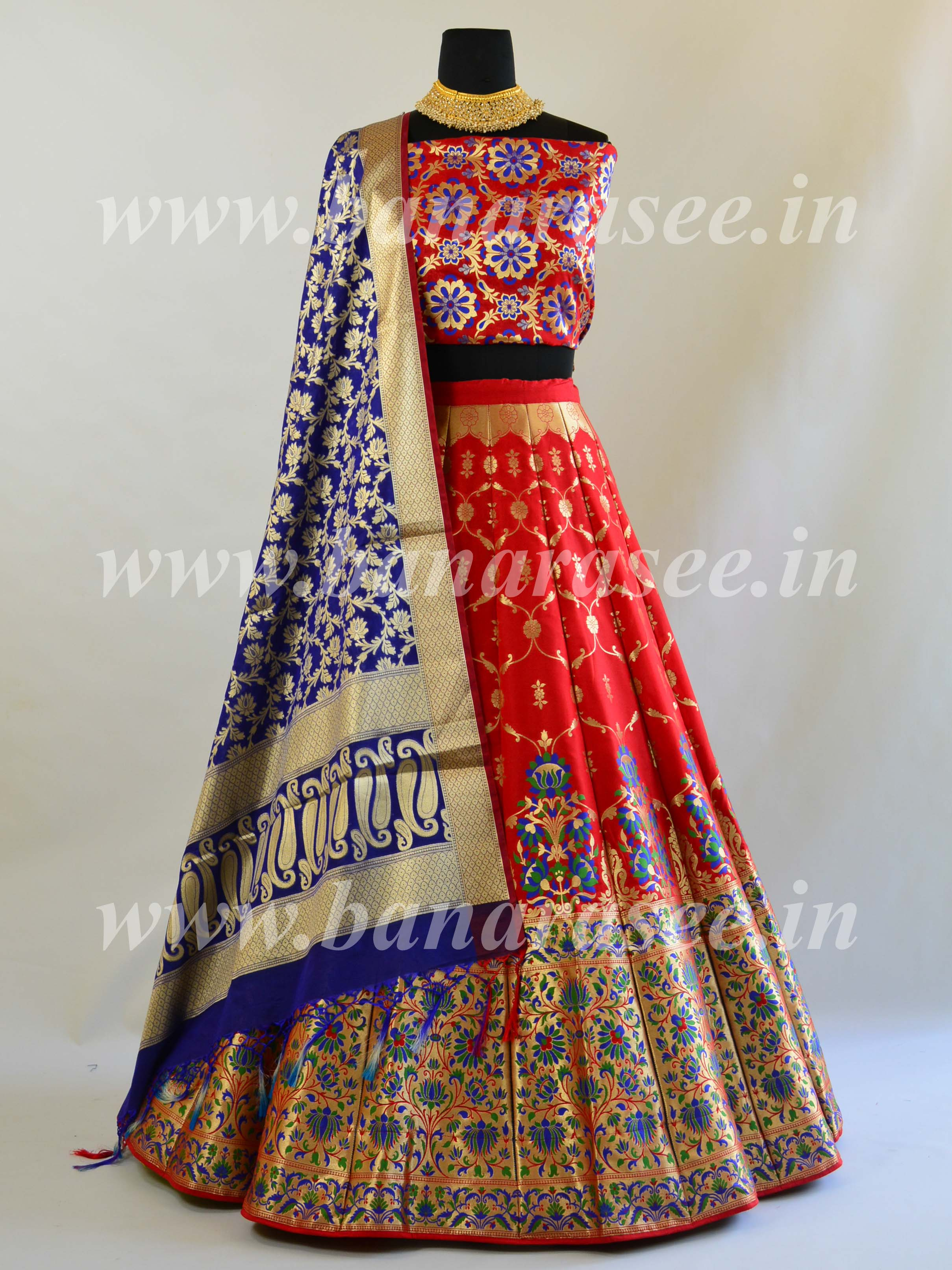 Banarasee Handwoven Art Silk Unstitched Lehenga & Blouse Fabric With Meena Work-Red