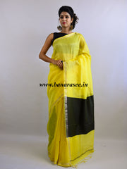 Bhagalpuri Handloom Pure Linen Silk Saree-Yellow With Black