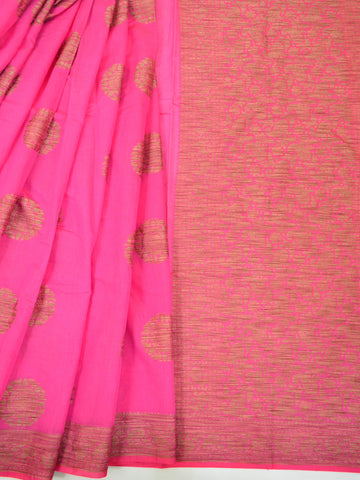 Banarasee Pure Handloom Soft Cotton Saree With Jute Work-Pink