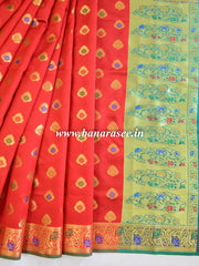 Banarasee Art Silk Saree With Floral Border-Red