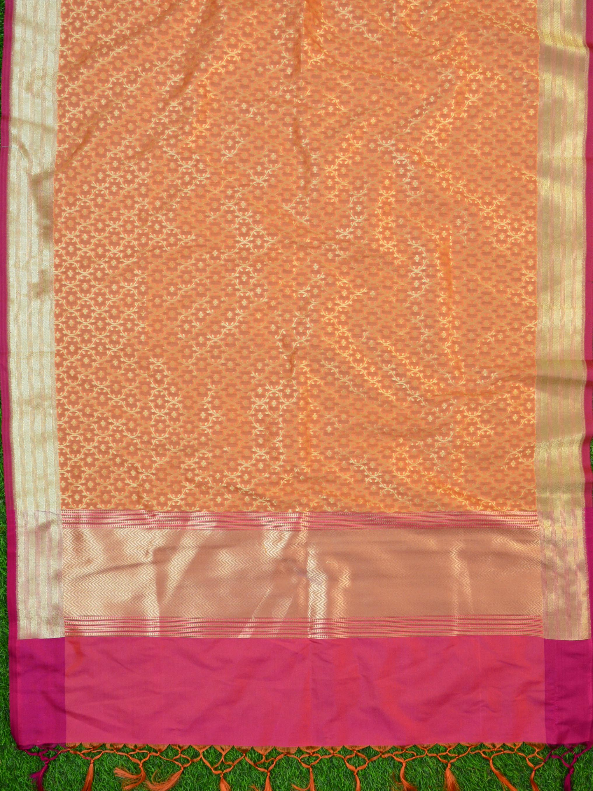 Banarasee Art Silk Dupatta Jaal Design-Orange