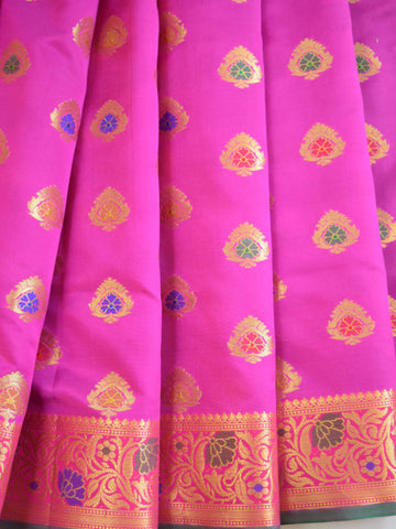Banarasee Art Silk Saree With Floral Border-Magenta