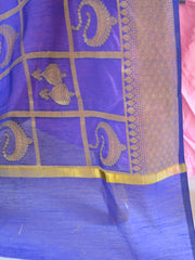 Banarasee Cotton Silk Mix Dupatta With Big Checks Design-Deep Blue