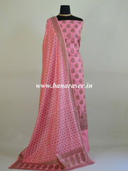 Banarasee Cotton Silk Ghichha Work Salwar Kameez Fabric With Dupatta-Pink
