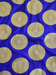 Banarasee Satin Brocade Gold Zari Big Circle Buta Fabric-Royal Blue