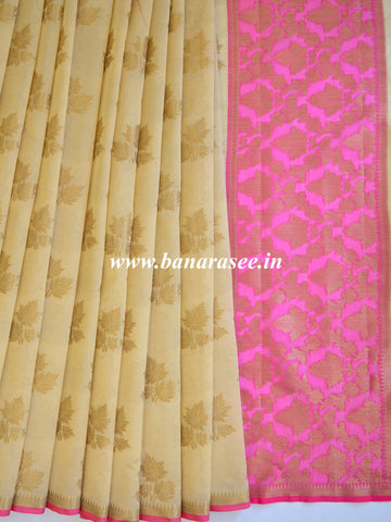 Banarasee Cotton Silk Mix Saree With Zari Leaf Buta-Beige