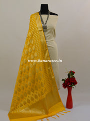 Banarasee Art Silk Dupatta With Gold Zari Buta Design-Yellow