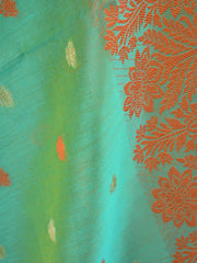 Banarasee Cotton Silk Resham Border Dupatta-Green