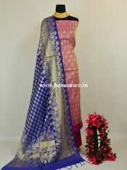 Banarasee Cotton Silk Salwar Kameez Peacock Feather Design Fabric & Chanderi Dupatta-Purple