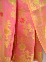 Banarasee Handloom Soft Cotton Floral Jaal Saree-Peach