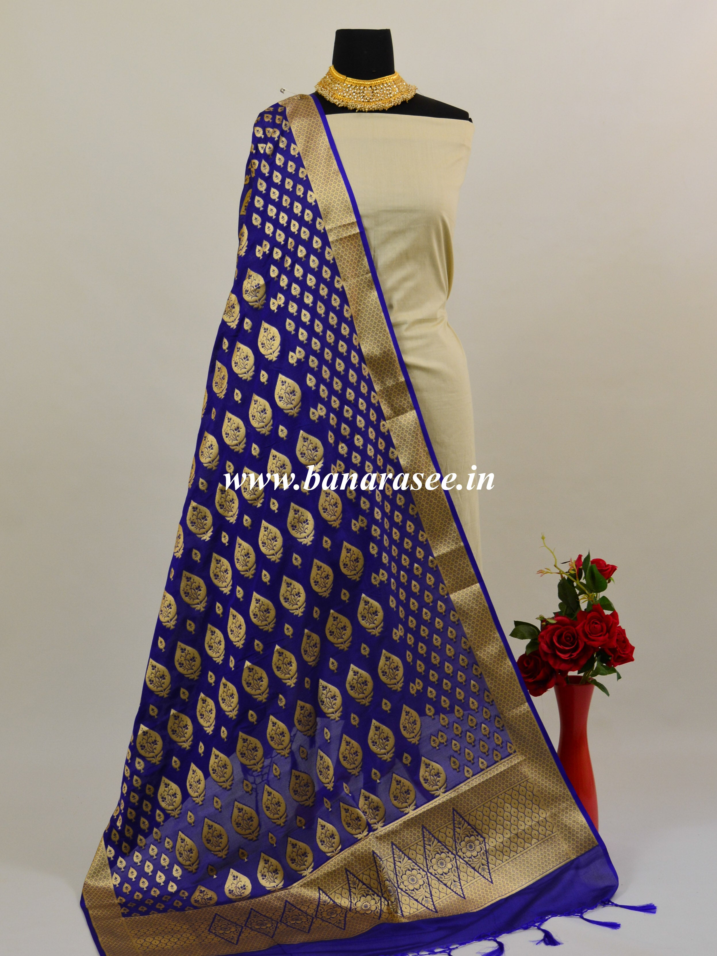 Banarasee Art Silk Dupatta With Gold Zari Buta Design-Violet