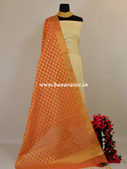 Banarasee Chanderi Cotton Zari Buti Design Dupatta-Orange