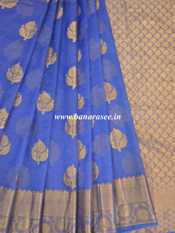 Banarasee Organza Mix Saree With Antique Zari Buta Design-Persian Blue