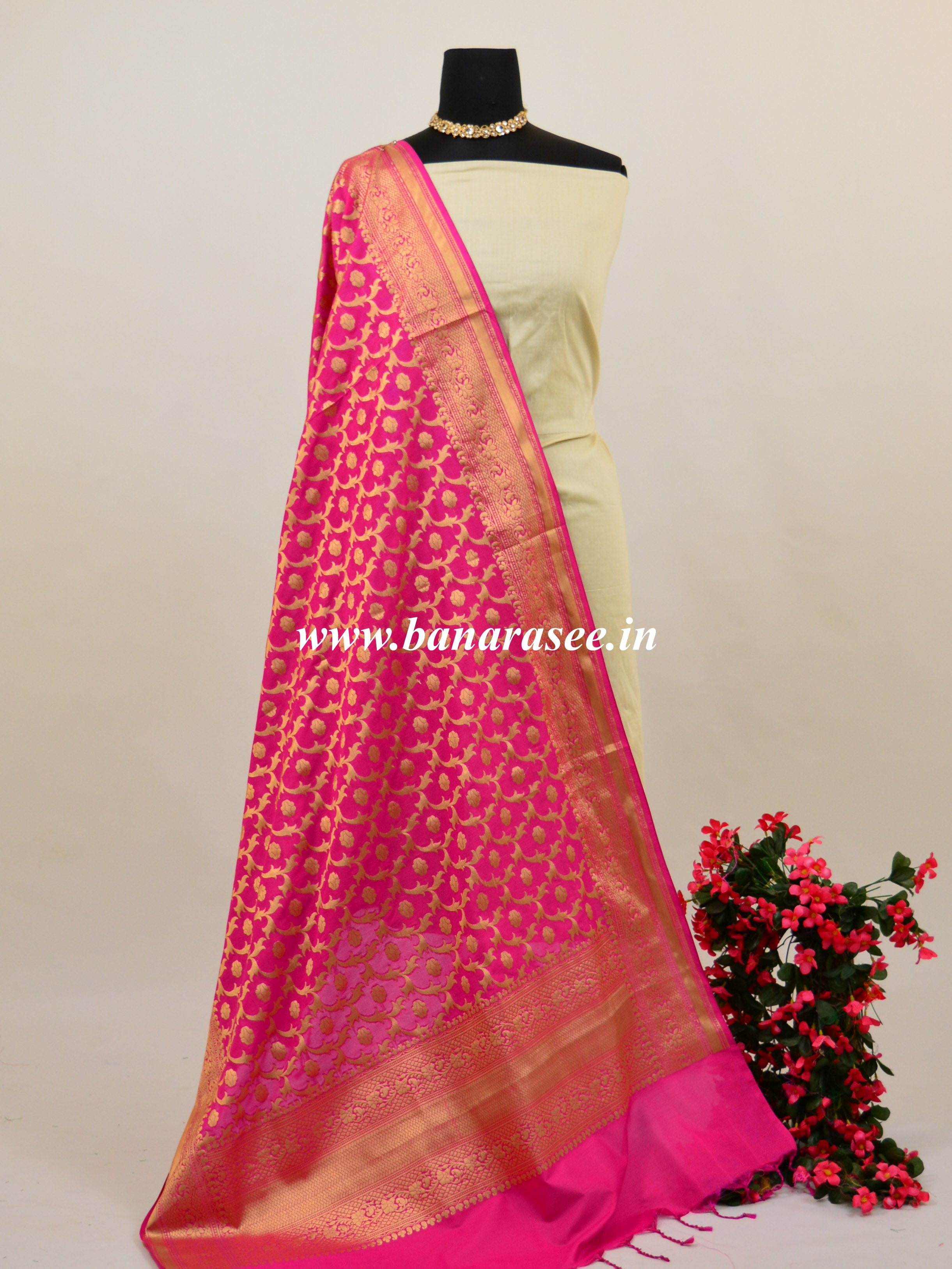 Banarasee Art Silk Dupatta Jaal Design Design-Hot Pink