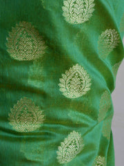 Banarasee Chanderi Cotton Salwar Kameez Fabric With Zari Buti Design & Orange Dupatta-Green