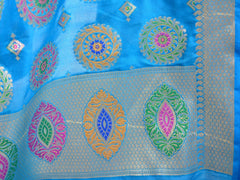 Banarasee Art Silk Dupatta With Multicolor Buta Design-Blue