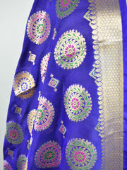 Banarasee Art Silk Dupatta With Multicolor Buta Design-Violet