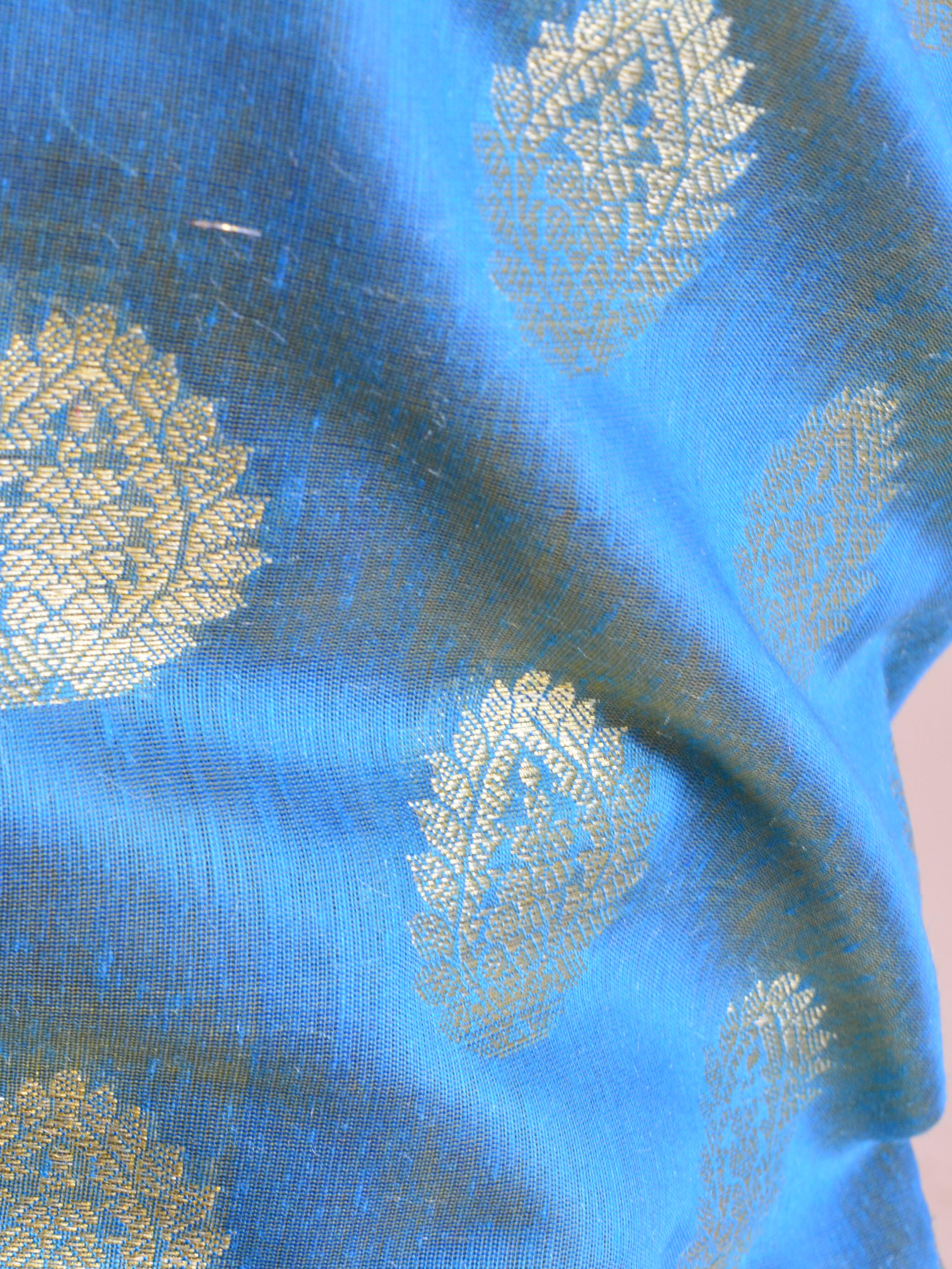 Banarasee Chanderi Cotton Salwar Kameez Fabric With Zari Buti & Border Design-Blue