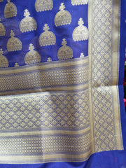 Banarasee Art Silk Dupatta With Jhumki Motif-Royal Blue