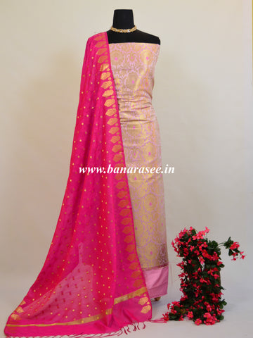 Banarasee Handwoven Satin Brocade Salwar Kameez Fabric & Hot Pink Art Silk Dupatta-Baby Pink