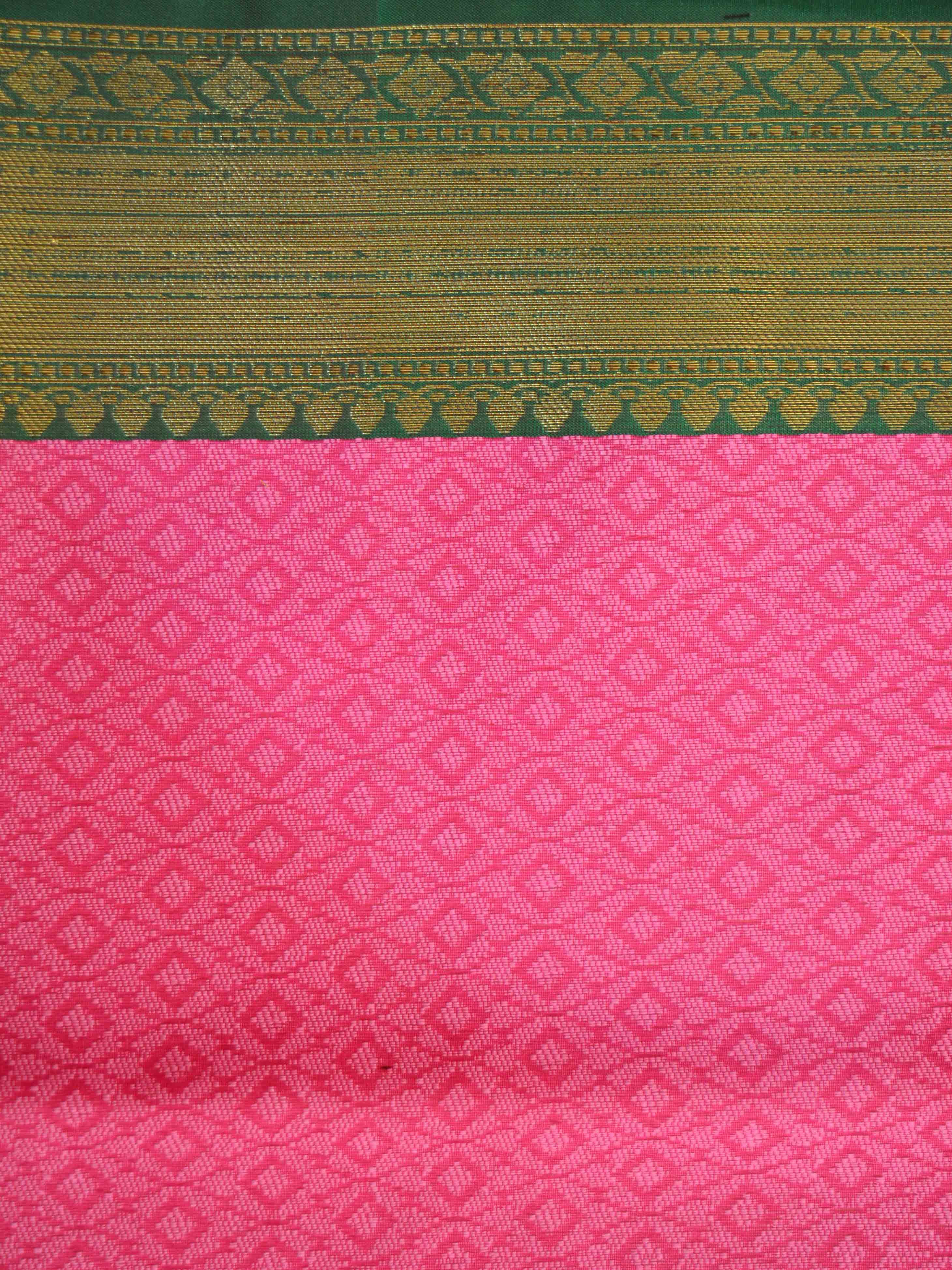 Banarasee Kora Muslin Saree With Tanchoi Weaving & Green Floral Border-Pink