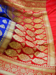 Banarasee Handwoven Buta Design & Floral Border Art Silk Saree-Royal Blue