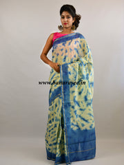 Banarasee Handloom Chanderi Shibori Dyed Saree With Contrast Blue Blouse-Off White