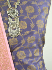 Banarasee Cotton Mix Ghichha Work Salwar Kameez Fabric With Pink Dupatta-Deep Blue
