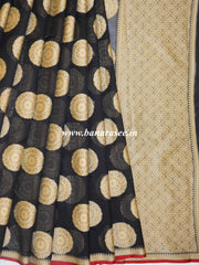 Banarasee Cotton Silk Mix Saree With Big Round Resham Buta-Black