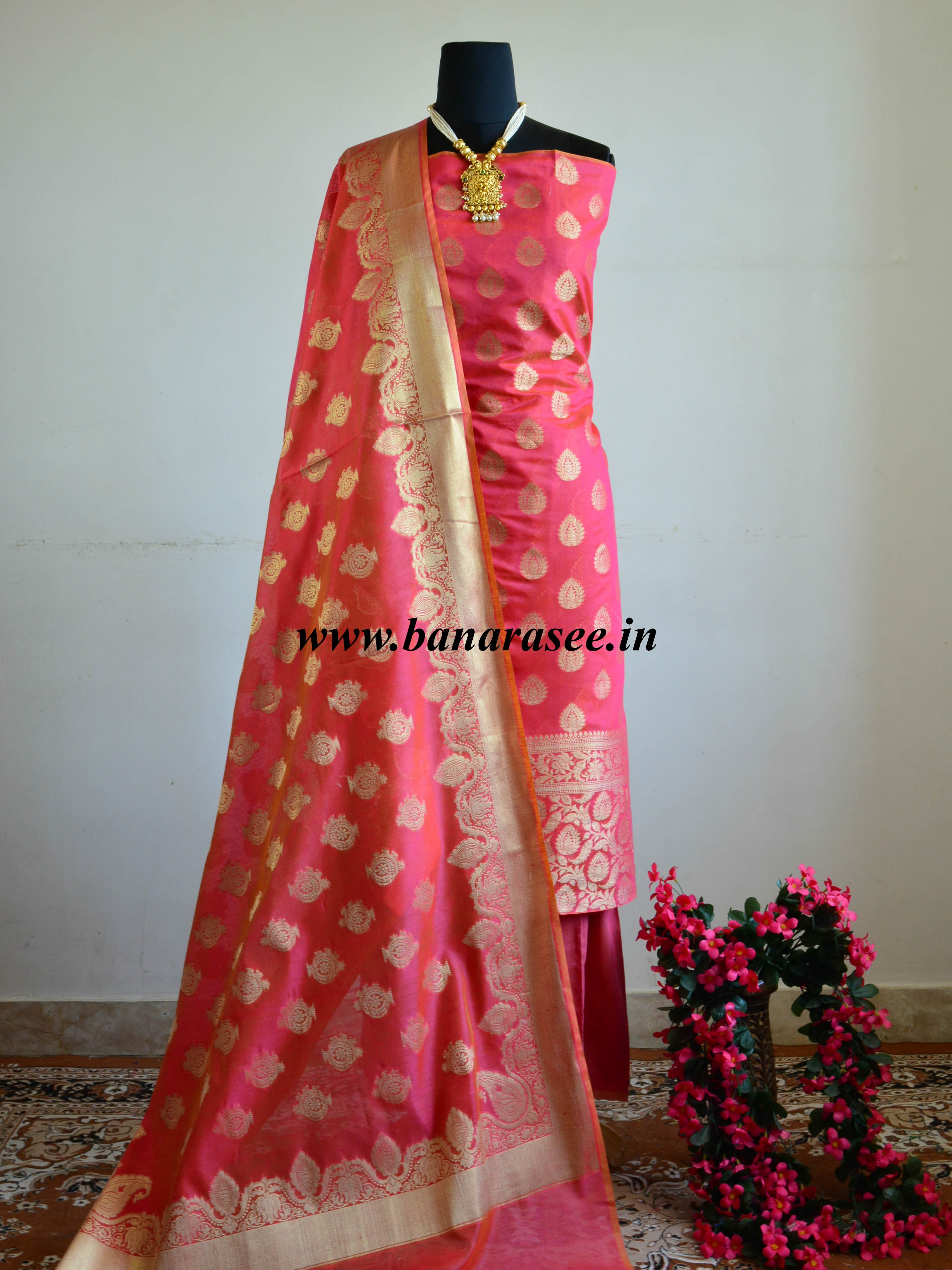 Banarasee Chanderi Cotton Salwar Kameez Fabric With Zari Buti & Border Design-Pink