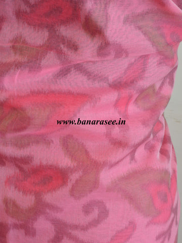 Banarasee Cotton Salwar Kameez Hand-Printed Fabric-Pink