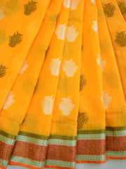 Banarasee Cotton Mix Sari With Zari & Resham Design-Yellow