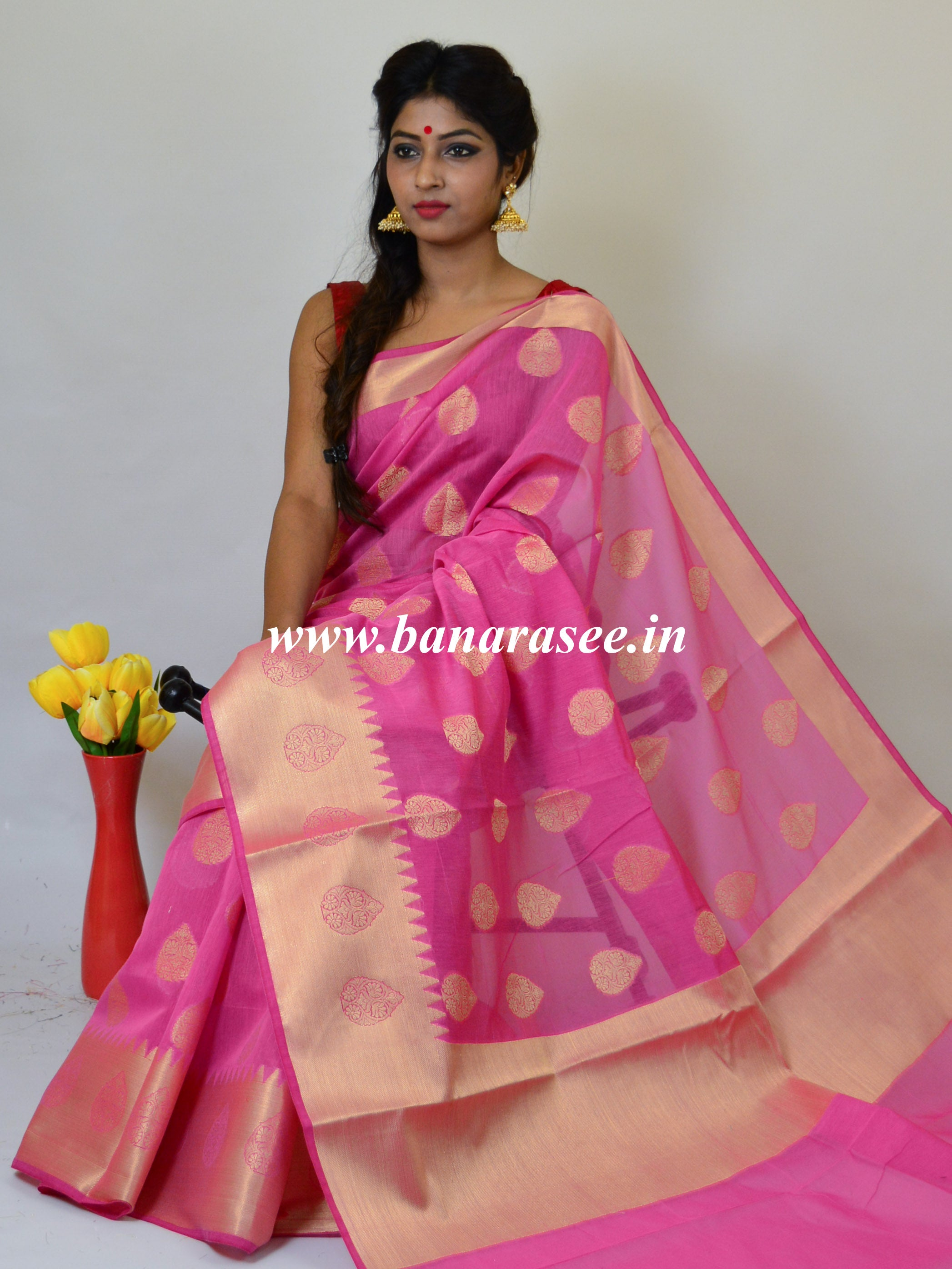 Banarasee Handloom Cotton Silk Mix Broad Border Sari-Pink